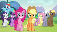 All ponies happy to see Countess Coloratura except Applejack S5E24