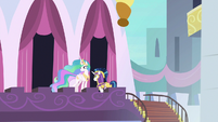 Celestia and Shining outside the castle S9E4