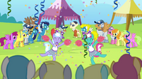 Cheerleaders cheering for Cloudsdale S4E10