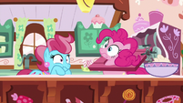 Pinkie Pie and Mrs. Cake very startled S9E13