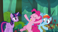Pinkie Pie doing a friendship trust fall S8E13