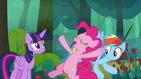 Pinkie Pie doing a friendship trust fall S8E13