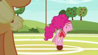 Pinkie Pie rolling around on a softball S6E18