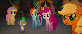 Ponies and Spike look at the glowing water MLPTM