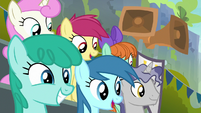 Ponies watching the Washouts' second show S8E20