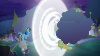 Rainbow Dash breaking the clouds apart S9E17