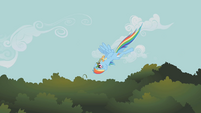 Rainbow Dash flying downward upside-down S1E09