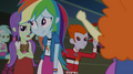 Rainbow Dash walking past booing students EG2.png