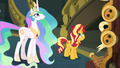 Sunset and Celestia looking up at Twilight EGFF.png