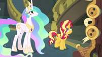 Sunset and Celestia looking up at Twilight EGFF