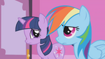Twilight and Rainbow Dash listen to Rarity S1E14