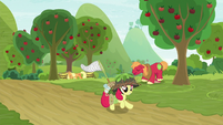 Apple Bloom runs past the orchard S9E10
