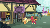Applejack and Big Mac outside Rich's Barnyard Bargains S6E23