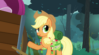 Applejack pointing at the cart full of Rarity's things S3E06