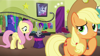 Applejack thinks as Fluttershy talks to Bernard S6E20