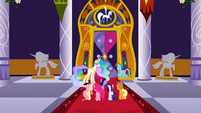 Celestia and main 6 in front of door S2E01