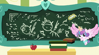 Flurry Heart drawing on Cheerilee's chalkboard S7E3