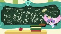Flurry Heart drawing on Cheerilee's chalkboard S7E3