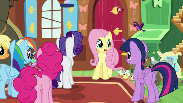 "File:Fluttershy ""we're right on track to building"" S7E5.png"