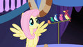 Fluttershy cues bird chorus for Celestia's supposed entrance S1E01.png