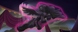 Petrified Luna floating in Twilight's aura MLPTM