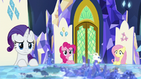 Rarity, Pinkie, and Fluttershy listen to Twilight S8E2