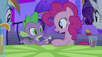 Spike and Pinkie playing with figurines S2E25