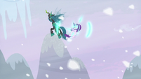 Starlight appears in the air near Chrysalis S9E24