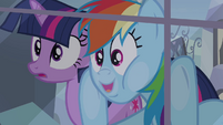 Twilight and Rainbow Dash looking through the window S03E12
