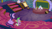 Twilight and Spike observe Celestia's workshop S8E7