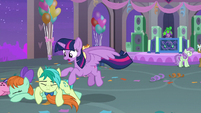 Twilight helping Sandbar and Patty S9E7