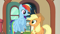 Applejack and Rainbow smile at each other S6E18.png