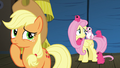 Applejack thinks as Fluttershy talks to Flying Prairinos S6E20.png