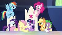 Fluttershy patting Twilight Sparkle's hoof S9E1