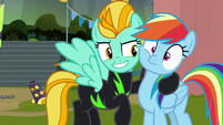 Lightning Dust happy to see Rainbow Dash S8E20