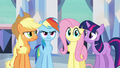 Main ponies have no idea what Pinkie's doing S03E12.png