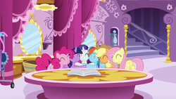 Mane Six group hug around Rarity S6E9