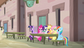 Mane Six sitting across from Double Diamond S5E1.png