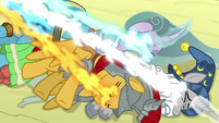 Pillars of Equestria being magically drained S9E24