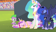 Princess Cadance bowing to Spike S4E24