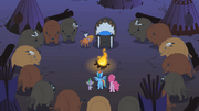 Rainbow Dash, Pinkie Pie, and Spike meeting Buffalo tribe and LSH S1E21
