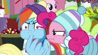 Rainbow Dash biting one of her feathers BGES1