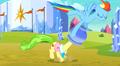 Rainbow pulling the flowerpot off Ms. Peachbottom's head S3E12.png