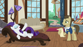 Rarity lying on a chaise in Davenport's store S7E19.png