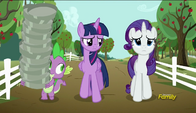 S06E10 Twilight, Spike i Rarity idą do Applejack