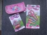 School supplies (pencil case, tape, and scissors)