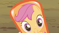 Scootaloo's reflection in her hoof S4E15