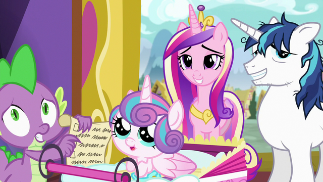File:Spike, Flurry, Cadance, and Shining Armor look at Twilight S7E3.png