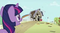 Twilight Sparkle sees Rainbow Dash destroying barn S2E03