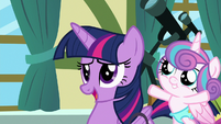 Twilight Sparkle talking to Cheerilee S7E3